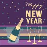 An neuf heureux Bouteille et verre de Champagne Photos libres de droits