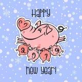 An neuf heureux Carte de vacances Le symbole de la nouvelle année 2019 est le porc Le porc drôle vole sur des ballons Le style de Illustration Libre de Droits
