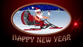 An neuf heureux Mauvaise Santa Claus sur un aerosleigh monte avec des cadeaux illustration libre de droits