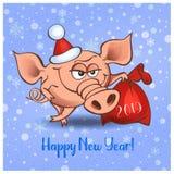 An neuf heureux 2019 Porc gai avec des cadeaux Vecteur illustration libre de droits