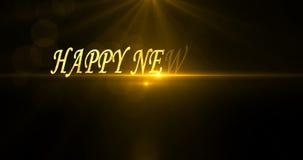 An neuf heureux 2020 Salutation et souhaits des textes Carte avec des fusées et des étincelles Fond fonc? vid?o 4K banque de vidéos