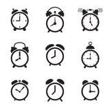 Neuf icônes de réveil d'isolement sur un fond blanc Illustration Stock