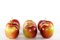 Neuf rouges et pommes vertes. Images stock