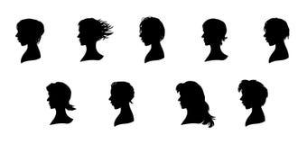 Neuf silhouettes de visages Images stock