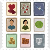 Neuf timbres Photographie stock libre de droits
