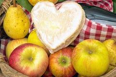 Neufchatelkaas met de appelen van Normandië Stock Foto's