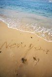 neufs heureux de plage écrivent l'an Images libres de droits