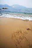 neufs heureux de plage écrivent l'an Images stock