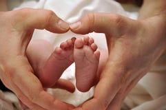 Neugeboren u. Vati, Hände u. Füße Lizenzfreie Stockfotos