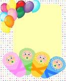 Neugeborene Ankunft, Geburtstagskarte, Schätzchenfeld Stockfotos