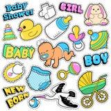 Neugeborene Baby-Aufkleber, Flecken, Ausweis-Einklebebuch-Babyparty-Dekoration eingestellt mit Storch und Spielwaren lizenzfreie abbildung