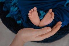 Neugeborene Babyfüße und Hände von Eltern Lizenzfreie Stockfotografie