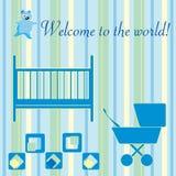 Neugeborene willkommene Karte Stockfotos