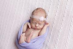Neugeborenes Baby, das auf einem rosa Plaid schläft stockfotografie