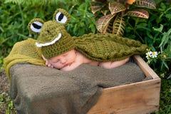 Neugeborenes Baby, das ein Alligatorkostüm trägt Stockfotografie