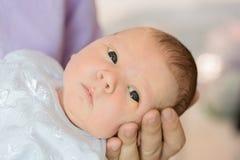 Neugeborenes Baby in den Armen der Mutter, Vati Große Hände der Mutter, fathe Lizenzfreie Stockbilder