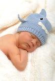 Neugeborenes Baby im Haifischhut Stockbild