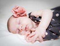 Neugeborenes Baby mit dem Blumenschlafen Lizenzfreie Stockfotografie