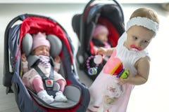 Neugeborenes Baby paart das Mädchen, das in einem Autositz sitzt Stockbilder
