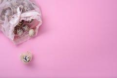 Neugeborenes Kind, Babyparty oder Schwangerschaftsgrußkartenkonzept Wachtelei in Vögel nisten über rosa Hintergrund Stockbild