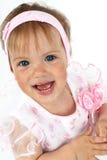Neugeborenes Mädchen im rosafarbenen Kleid stockbilder
