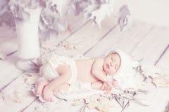 Neugeborenes Schätzchen, das auf Blättern schläft Stockfoto