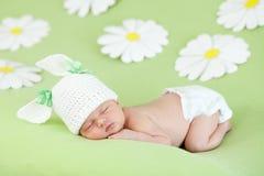 Neugeborenes Schätzchen, das auf Grün unter Papiergänseblümchen schläft Lizenzfreie Stockfotos