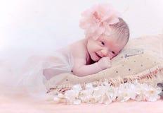 Neugeborenes Schätzchen des Portraits, das im Kissen liegt Lizenzfreie Stockfotos