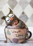 Neugeborenes Schätzchen mit Eulenhut im riesigen Cup Stockbild