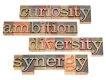 Neugier, Ehrgeiz, Verschiedenartigkeit und Synergie Stockfotos
