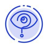 Neugierig, Ausruf, Auge, Wissen, Mark Blue Dotted Line Line-Ikone stock abbildung