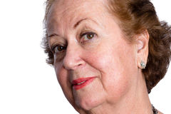 Neugierige fragende ältere Frau Lizenzfreie Stockfotografie
