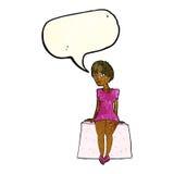 neugierige Frau der Karikatur, die mit Spracheblase sitzt Lizenzfreies Stockbild