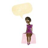 neugierige Frau der Karikatur, die mit Spracheblase sitzt Stockbilder