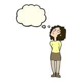 neugierige Frau der Karikatur mit Gedankenblase Lizenzfreie Stockfotografie