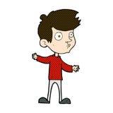 neugieriger Junge der komischen Karikatur Lizenzfreie Stockfotos