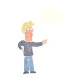 neugieriger Mann der Karikatur, der mit Gedankenblase zeigt Lizenzfreie Stockfotos