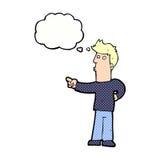 neugieriger Mann der Karikatur, der mit Gedankenblase zeigt Lizenzfreies Stockbild