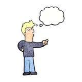 neugieriger Mann der Karikatur, der mit Gedankenblase zeigt Stockfoto
