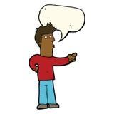 neugieriger Mann der Karikatur, der mit Spracheblase zeigt Lizenzfreie Stockfotografie