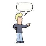 neugieriger Mann der Karikatur, der mit Spracheblase zeigt Lizenzfreies Stockfoto