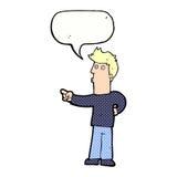 neugieriger Mann der Karikatur, der mit Spracheblase zeigt Lizenzfreie Stockfotos