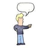 neugieriger Mann der Karikatur, der mit Spracheblase zeigt Stockbilder