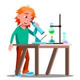 Neugieriges Kind, das ein Mikroskop im Schulvektor verwendet schule Ausbildung Getrennte Abbildung vektor abbildung