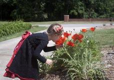 Neugieriges kleines Mädchen, das Blumen betrachtet Lizenzfreie Stockfotografie