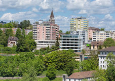 Neuhausen am Rheinfall cityscape. View in the Neuhausen am Rheinfall city in Switzerland in springtime Stock Photos
