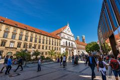 Neuhauser Strasse And Michaelskirche - Munich Germany Royalty Free Stock Images