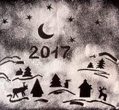 Neujahrsfeiertaghintergrund mit Zeichnungen mit Mehl und Text 20 Lizenzfreie Stockbilder