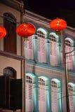 Neujahrsfestdekorationen in Singapur Stockfotografie