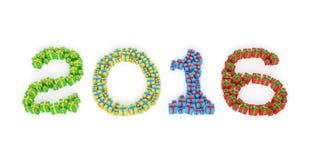 Neujahrsgeschenkkästen 2016 Stockfoto